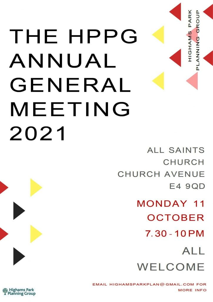 HPPG Annual General Meeting – 11th October at 7:30 pm at All Saints Church, E4 9QD